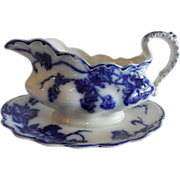 "REDUCED Flow Blue Rare ""Warwick"" Gravy Boat With Attached Underplate"