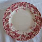"REDUCED SIX Johnson Bros. Red ""Strawberry Fair"" Appetizer Plates"