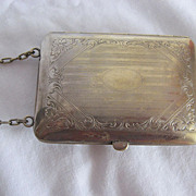 SALE SALE:  Chatelaine Victorian German Silver Coin Purse On Chain