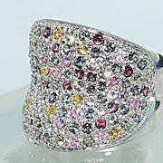 SALE Genuine 5 + CT's Multi Gem Stone Ring In Sterling Silver