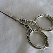 REDUCED Sterling Silver Manicure Scissors Embossed Florals, N&H Germany