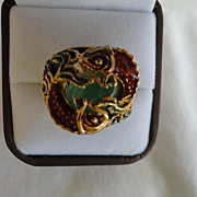 SALE Designer Genuine 7 Carot Emerald Ring, With 2 Lizard's Circling