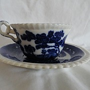 REDUCED Flow Blue Copeland Cup&Saucer & 2 Desert Plates, Spode's Tower