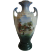 RS Prussia Pattern Farm Scene Handled Vase, Unmarked