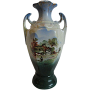 REDUCED RS Prussia Pattern Farm Scene Handled Vase, Unmarked