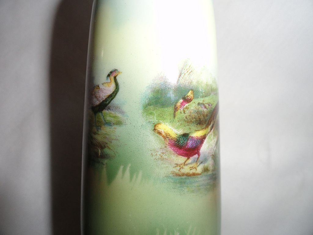 RS Prussia Salesman Sample Vase, Chinese & Ringneck Pheasants RARE