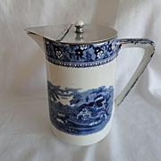 REDUCED Flow Blue Pewter Lidded Pitcher, Farm Scene With Cows, Ivanhoe