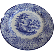 REDUCED Gorgeous Plate, Flow Blue Pattern &quot;Geneva&quot; by Royal Doulton