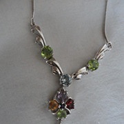 SALE PENDING Gorgeous,  Genuine, Necklace, Peridot, Amethyst,Citrine, & a Topaz, Sterling Silv