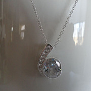 REDUCED SALE   Luscious White Topaz Pendant Necklace In Sterling Silver