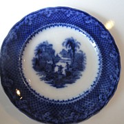 "REDUCED Flow Blue 10"" Plate By W. & E. Corn,  ""Italia"" Pattern,  1891"
