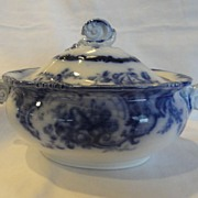 REDUCED Gorgeous Flow Blue Tureen By Cauldon Flowers & Butterfly's