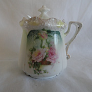 RS Prussia Hanging Basket Mustard Pot With Spoon