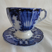 REDUCED Flow Blue Gorgeous 1845 Antique Demi Tasse Cup & Saucer