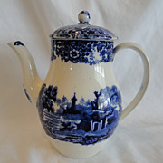"REDUCED Flow Blue, Transferware Demi Chocolate Pot  By Wedgewood, ""Chinese"""