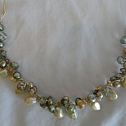 Exquisite Genuine Pearl & Crystal Necklace, From Japan
