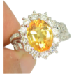 Sparkly Ring Of Orangey Yellow Citrine & Sapphires