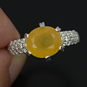 Luscious Yellow Opal & White Sapphire Gemstone Ring