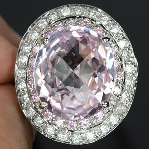 SALE:  Glowing 14+ K,  Pink Kunzite Ring & White Sapphires