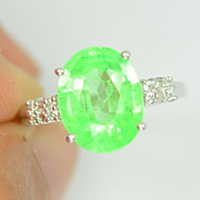 SALE:  Natural Green Emerald with White Sapphires In Sterling