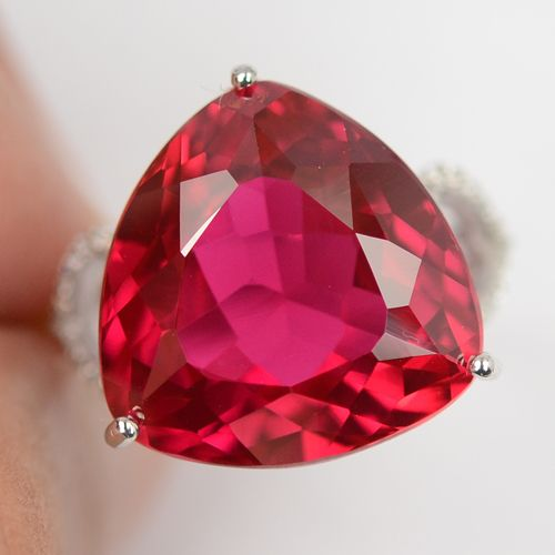 Mega Magnific Red Topaz Ring With White Heart Sapphires