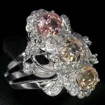 Morganite & Peach Sapphire Ring & White Sapphires