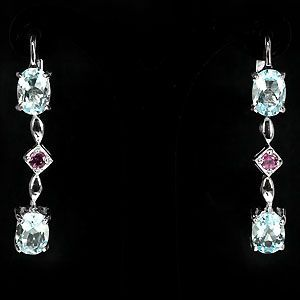 Blue Topaz and Rhodolite Garnet Earrings, Pierced.
