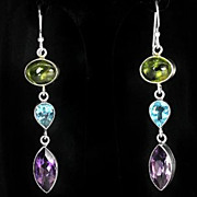 SALE PENDING Fancy Pierced Earrings In  Amethyst, Pierdot, & Blue Topaz