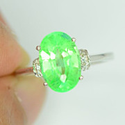 Green Emerald Gemstone Ring, Beautious Color Green