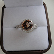 Stunning Champagne Topaz Ring Surrounded by White Sapphires & Zircons