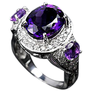 SALE:  Majestic Purple Amethyst Gemstone & White Sapphires