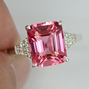 SALE:  Fab Emerald Cut Pink Orangey  Gemstone Ring & Sapphires