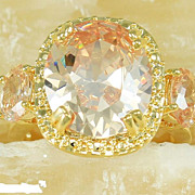 Majestic Fire Honey 16K Topaz Ring In 18K Gold Coat