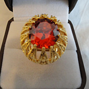 REDUCED:  Ravishing Red Garnet Ring In 18K Gold Coat