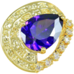 SALE:  Exquisite  Amethyst Ring & White Sapphires In 18K Gold Coat