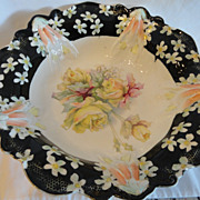 RS Prussia Roses & Black Border Bowl, Lrg. 10 1/2&quot;