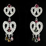 "Fancy Colored Tourmaline's,  2"" Long Dangle Earrings, & Sapphires WOW"