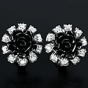 Black Rose Stud Earrings, Hand Made, & Sapphires.