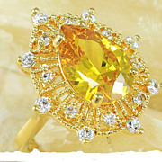 Fire Citrine Ring 5+ Carots In 18K  Over 925 Silver