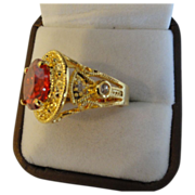 SALE:  Ravishing Red Garnet Ring, In 18K Gold Coat Over Sterling