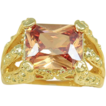 Radiant Honey Gold Topaz Ring With 18K Gold Over Silver