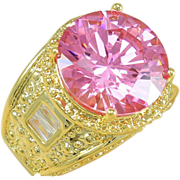 Rose Pink Topaz Ring In Silver With a 18K Gold Overcoat.