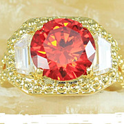 Intense Red Garnet Ring, 7+ Cts. 18K Gold Coat