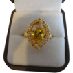 Gleaming Golden Yellow Citrine Ring With White Sapphires