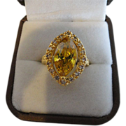 REDUCED Gleaming Golden Yellow Citrine Ring With White Sapphires