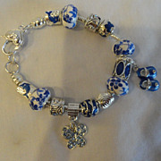 REDUCED SALE-SALE:  HOT HOT HOT Blue & White Charm Bracelet In Sterling Silver
