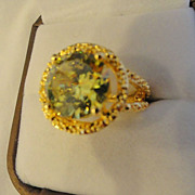 REDUCED Glimmering Yellow Green Fire Citrine Ring In 18K Gold Coating
