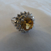 REDUCED Stunning Golden Citrine, Double Row of White Sapphires