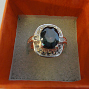 REDUCED Deep Greenish Blackish Multi Color Sapphire & White Sapphire's Ring