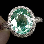 SOLD Lovely Green Tourmaline & White Sapphire Ring